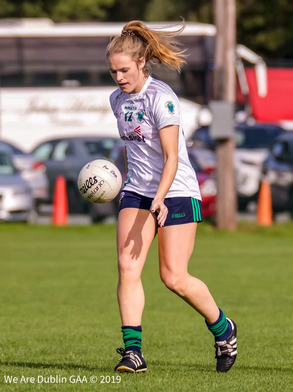A Foxrock Cabinteely ladies Footballer keeping a close eye on the ball, Foxrock are one win away from a return to the final of the All Ireland Club championship