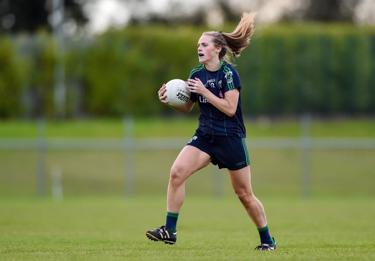 Amy Connolly of Foxrock-Cabinteely during the Leinster Ladies Football Senior Club Championship Final match between Foxrock-Cabinteely and Sarsfields at Coralstown-Kinnegad GAA in Kinnegad, Co. Westmeath.