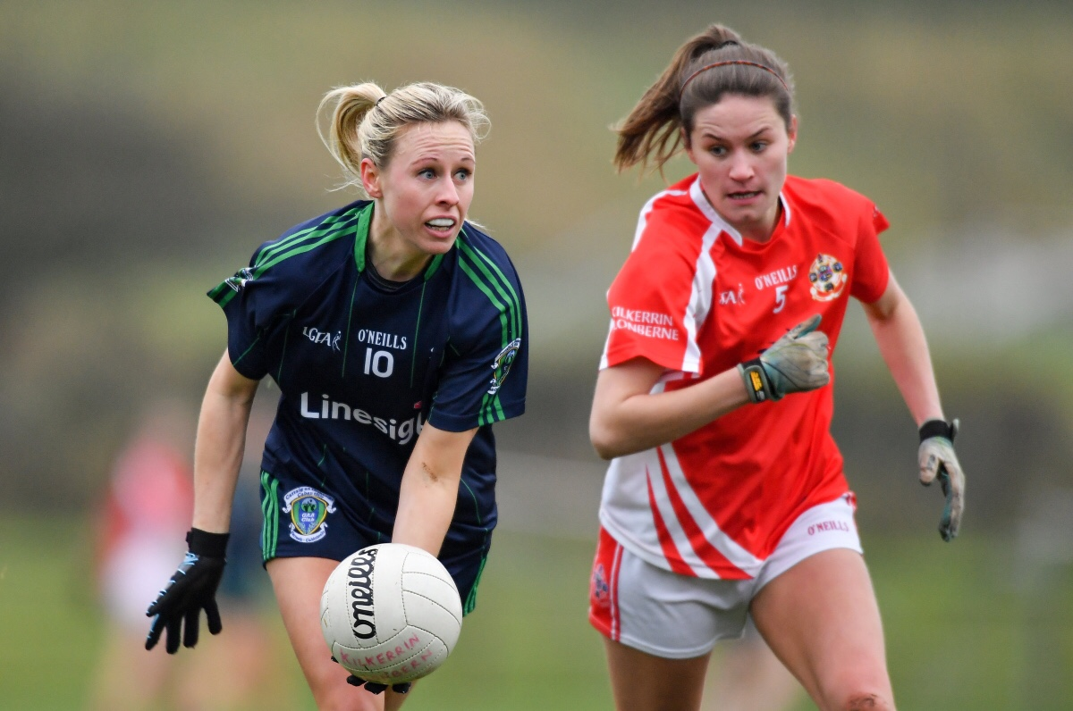 Fiona Claffey of Foxrock - Cabinteely in action against Claire Dunleavey of Kilkerrin - Clonberne during the All-Ireland Ladies Football Senior Club Championship Semi-Final match between Kilkerrin/Clonberne and Foxrock - Cabinteely at the Connacht GAA Centre of Excellence in Claremorris, Co Mayo.