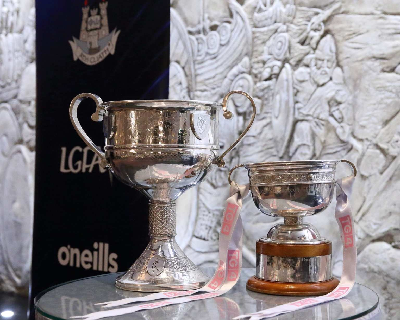 The All Ireland and Leinster ladies football trophy's on a table at the Dublin LGFA Awards night where it was announced Lauren Magee has been named Leinster Captain for the 2019 Interprovincial tournament