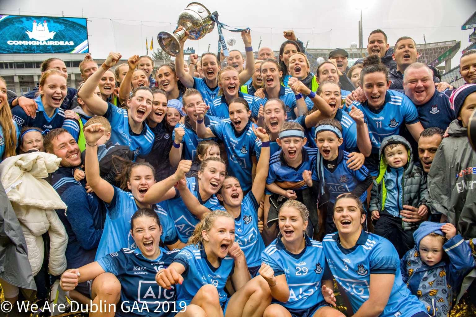 Dublin ladies football squad celebrating on the Croke Park pitch after winning the 2019 All Ireland Final, Dublin have been drawn in Group 2 of the revamped 2020 Senior All Ireland Championship alongside the Munster championship winners