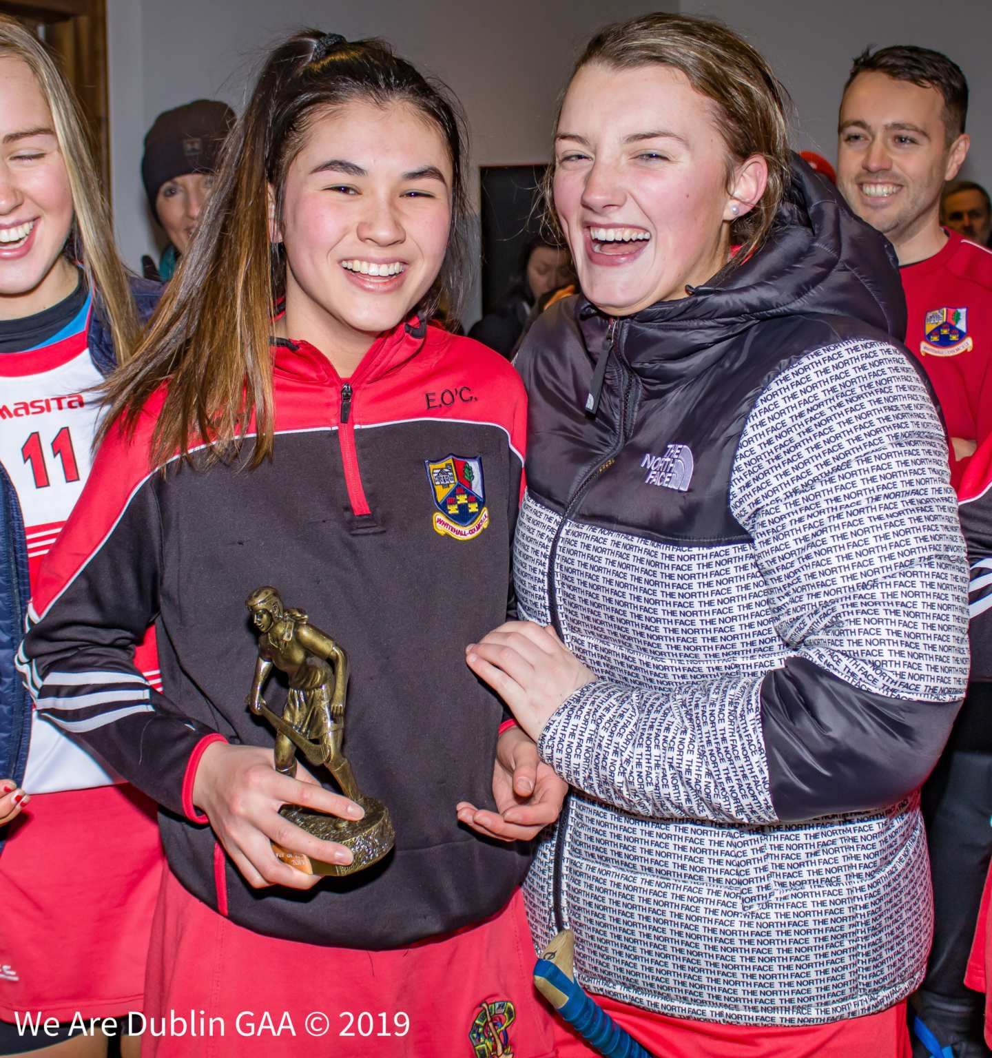 Éile O'Ceallaigh (Left) laughing with one of her Whitehall Colmcille teammates, Éile won the Player of the Match award in her sides win in the Dublin Camogie Minor C Final
