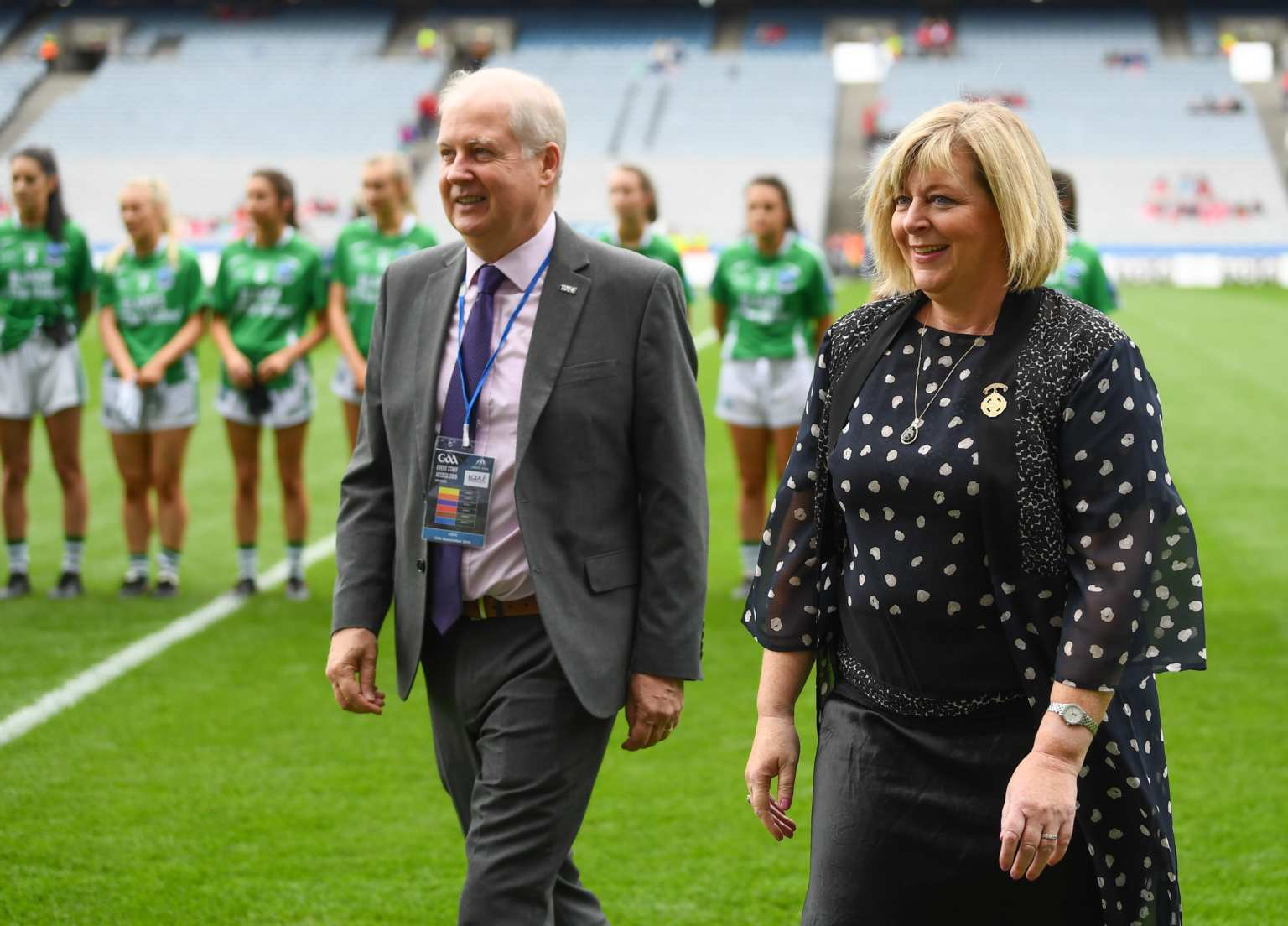 LGFA President Marie Hickey and Alan Esslemont, Ardstiúrthóir TG4, during the TG4 All-Ireland Ladies Football Junior Championship Final match between Fermanagh and Louth at Croke Park in Dublin.