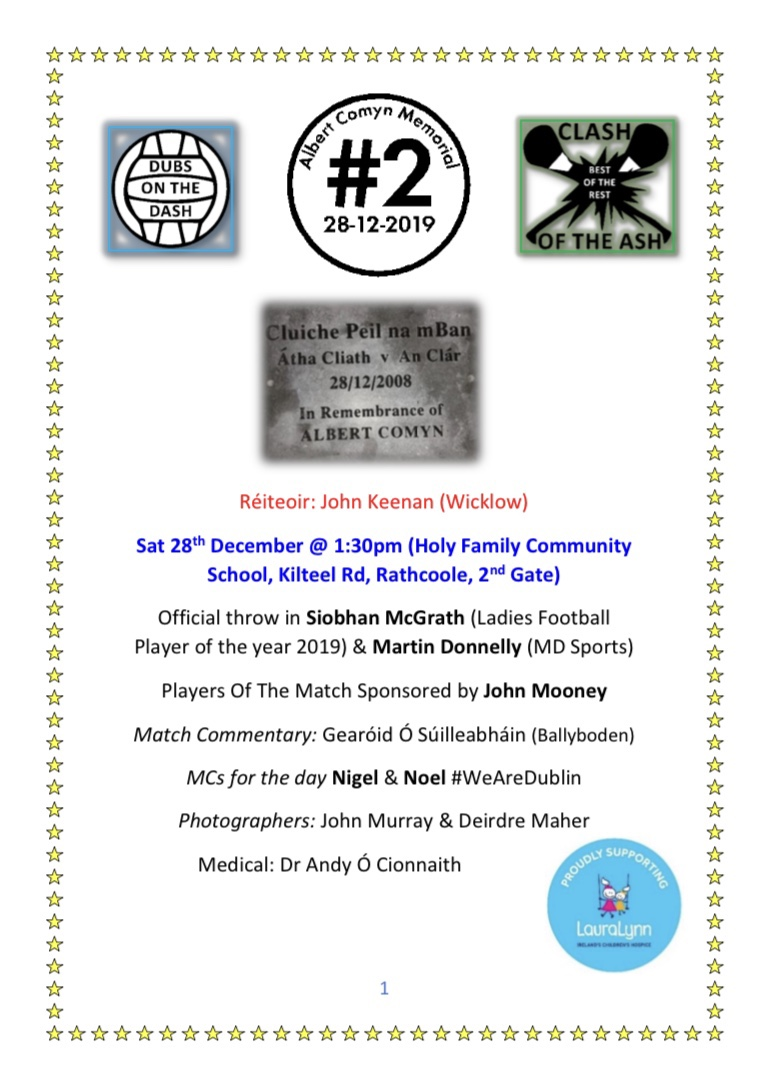Promotional poster for charity game in aid of the Laura Lynn Children's Hospice