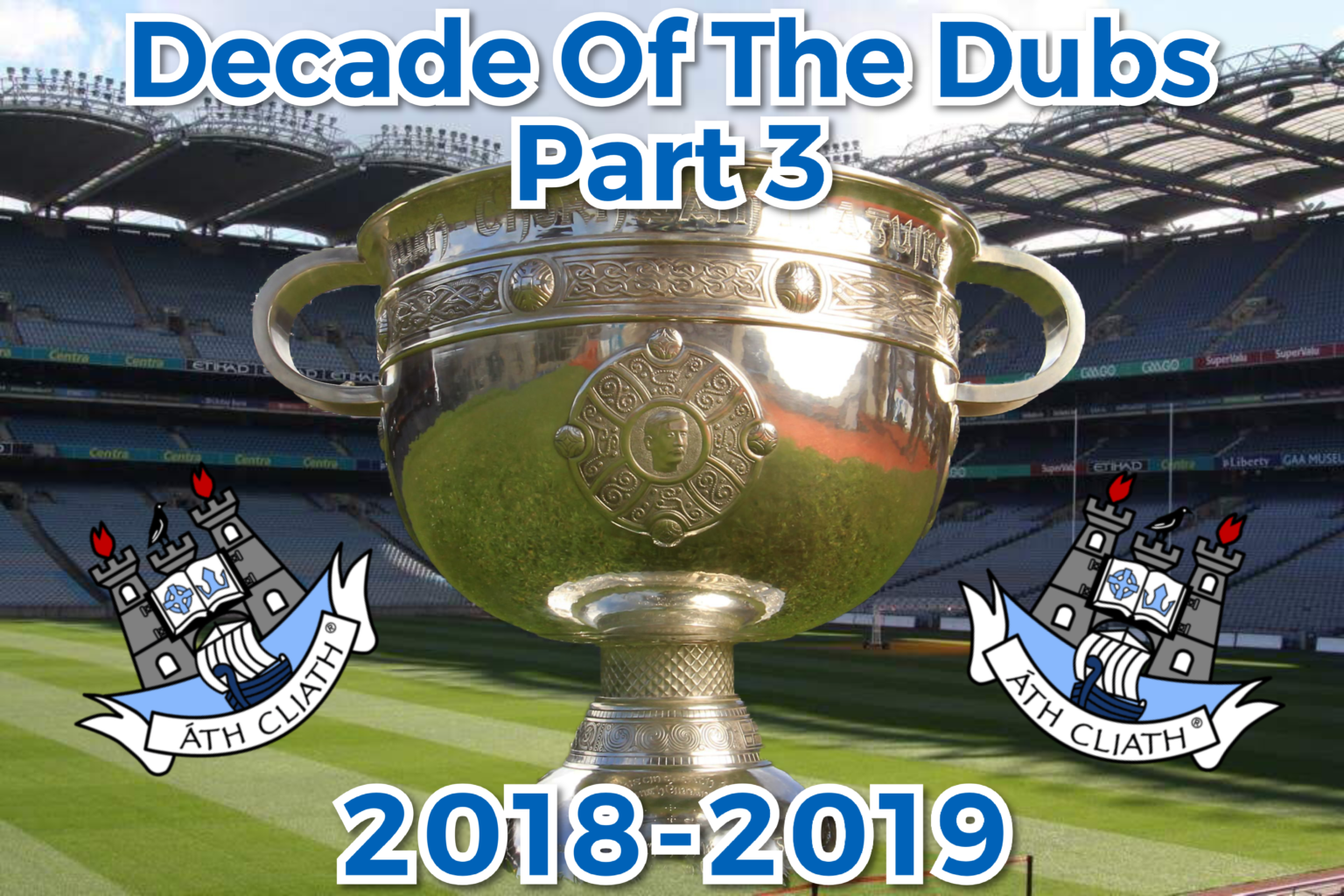 A poster with the Sam Maguire cup on the Croke park pitch flanked by the Dublin crest on each side with the text Decade of the Dubs Part 3