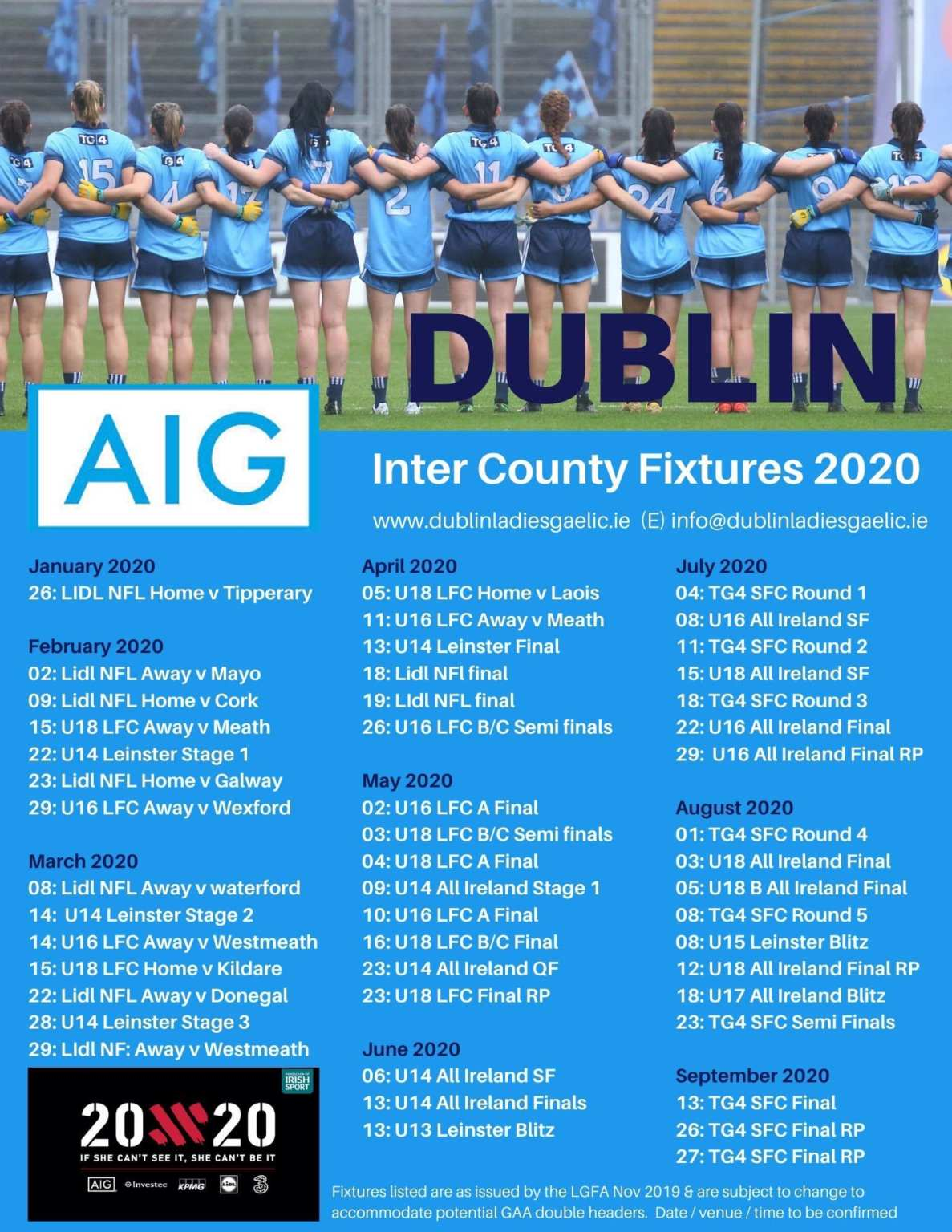 A poster with the list of Dublin Ladies football Fixtures for 2020