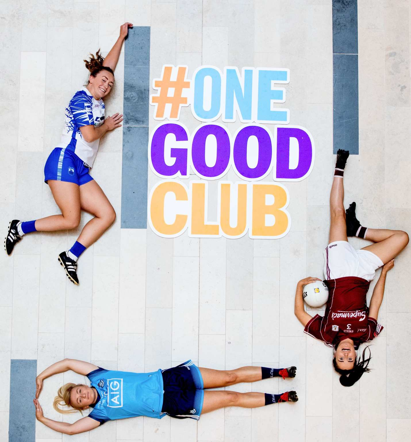 Three Ladies Gaelic footballers pictured at the launch of the Lidl Ireland One Good Club a five-step youth mental health awareness programme for local clubs, developed in partnership with the Ladies Gaelic Football Association (LGFA) and Jigsaw