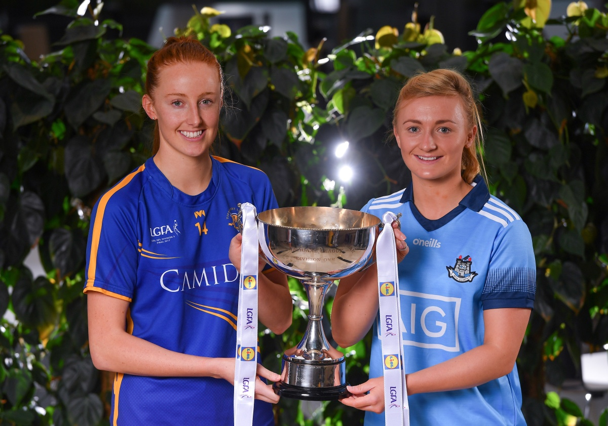 Tipperary ladies Footballers Aisling Maloney and Carla Rowe from Dublin holding the Division 1 League trophy at the official launch of the 2020 Lidl Ladies National Football League