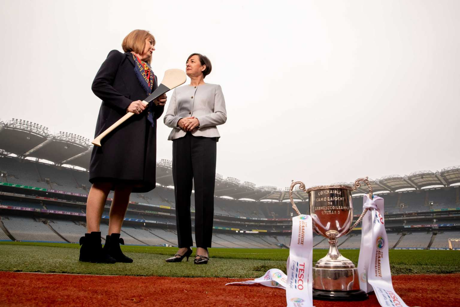 Camogie Association President Kathleen Woods is pictured with Tesco Ireland CEO Kari Daniels on the Croke Park sideline are the announcement that Tesco Ireland are the new Youth Development sponsor.