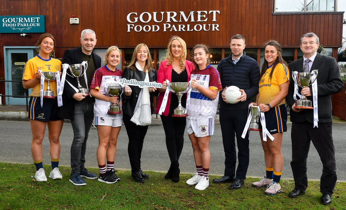 Gourmet Food Parlour is celebrating the passion of Ladies Footballers to mark the launch of the 2020 GFP Ladies HEC Third Level Championships. In attendance at the launch are, from left, Laura McGinley of DCU and Dublin, Donal Barry, HEC Chairperson, Eilish Ronayne of UL and Mayo, Helen O'Rourke, CEO LGFA, Lorraine Heskin, CEO, Gourmet Food Parlour, Hannah O'Donoghue of UL and Kerry, Tomás O Sé, GFP Ambassador, Muireann Atkinson of DCU and Monaghan and Con Moynihan, LGFA. Photo by David Fitzgerald/Sportsfile
