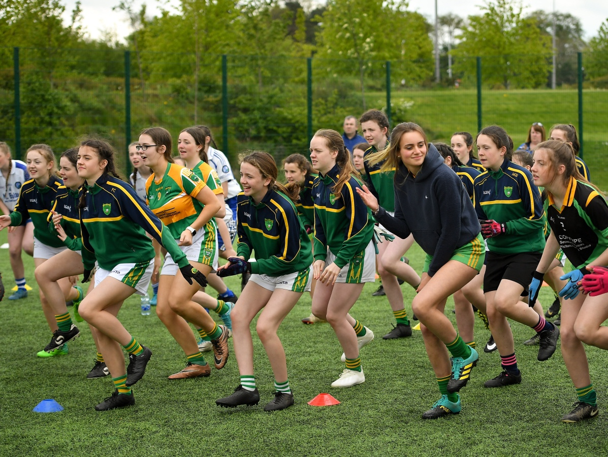 A group of players during the 2019 Gaelic4Teens programme the scheme has been extended in 2020 to 30 teams