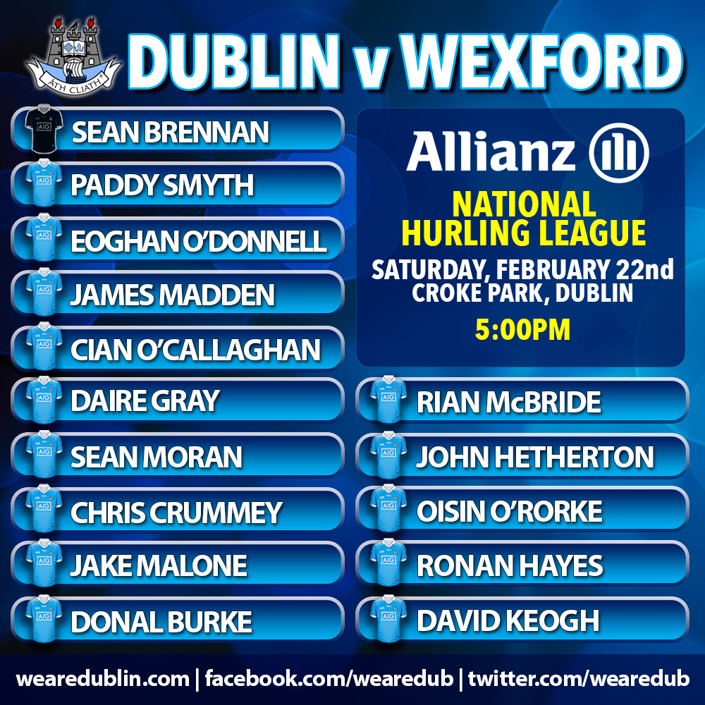 Wexford are Dublin's opponents in tomorrows NHL fixture