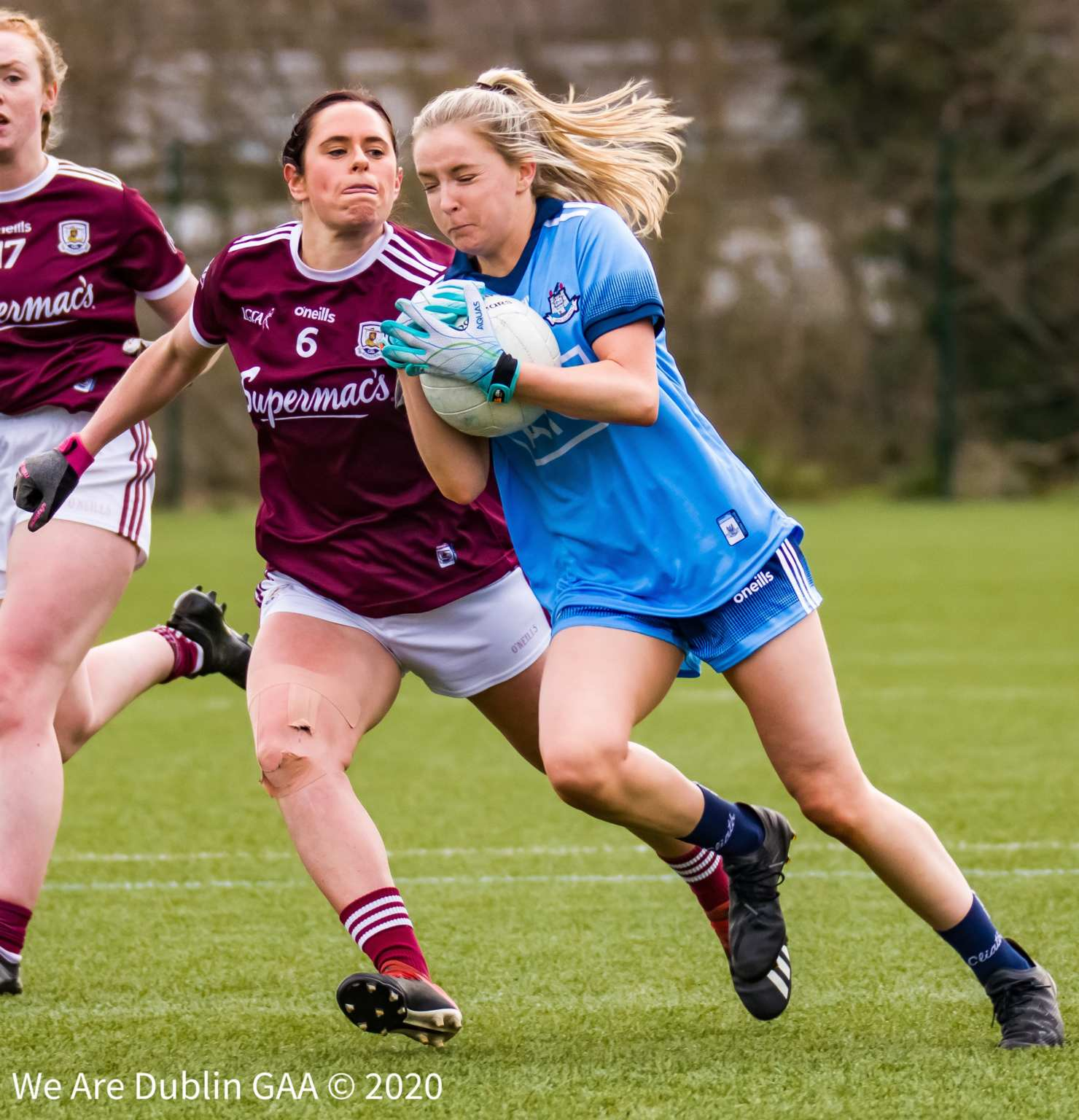 A Dublin ladies footballers is tackled by a Galway player, Dublin get their Leinster U14 and U16 Championship underway this weekend.