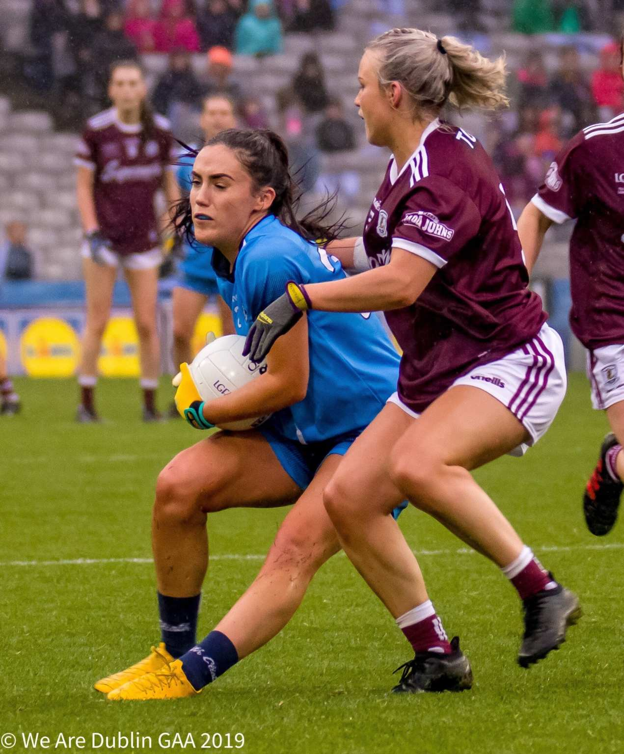 A Dublin Player is tackled by a Galway player both sides meet in the Lidl Ladies National Football League Round 4 at the weekend