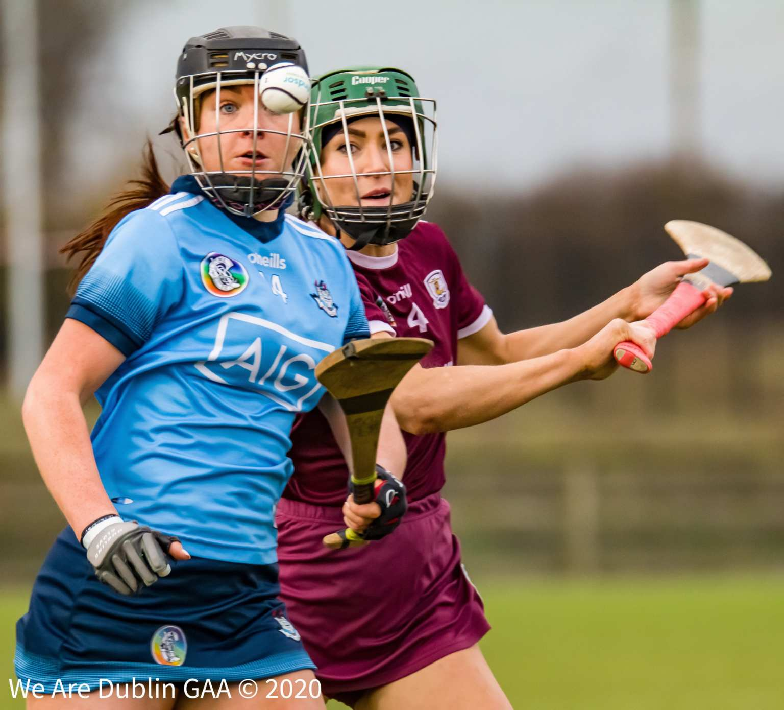 A Dublin And Galway Camogie Player battling for the ball during their opening round league encounter, reigning champions Galway were made to work hard for the win over a determined Dublin side.