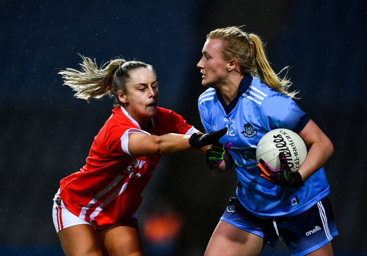 A Cork and Dublin Player in action during tonight's Lidl NFL game in Croke Park