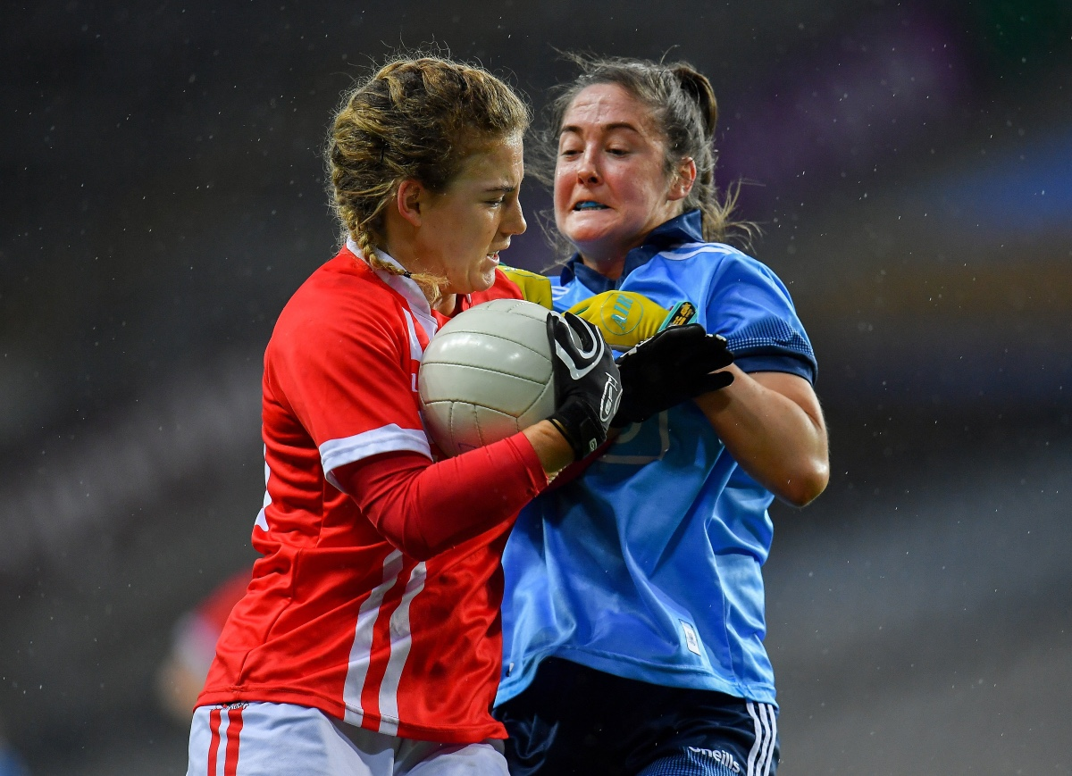 Cork And Dublin Ladies footballers battle for the ball during round 3 of the Lidl National Football League.