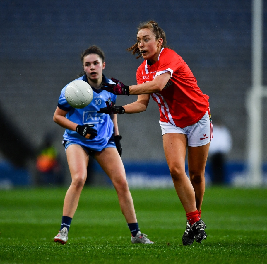A Cork and Dublin player in action during their Lidl Ladies NFL Round 3 clash in Croke Park