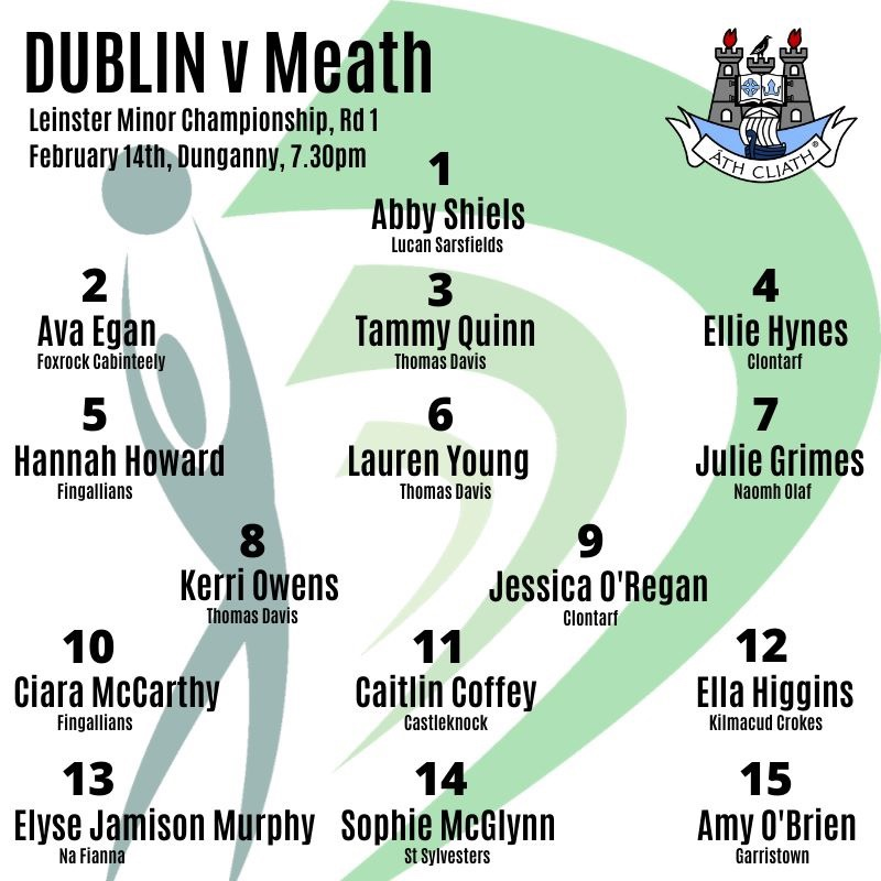 The Dublin Minor Ladies Football team list for their opening 2020 Leinster minor championship game against Meath
