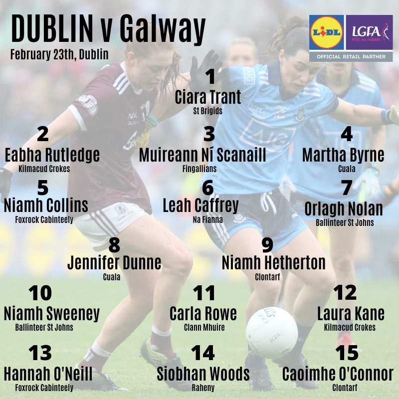 The Dublin team list which sees two changes to the starting 15 which played against Cork as Dublin's injury list lengthens.