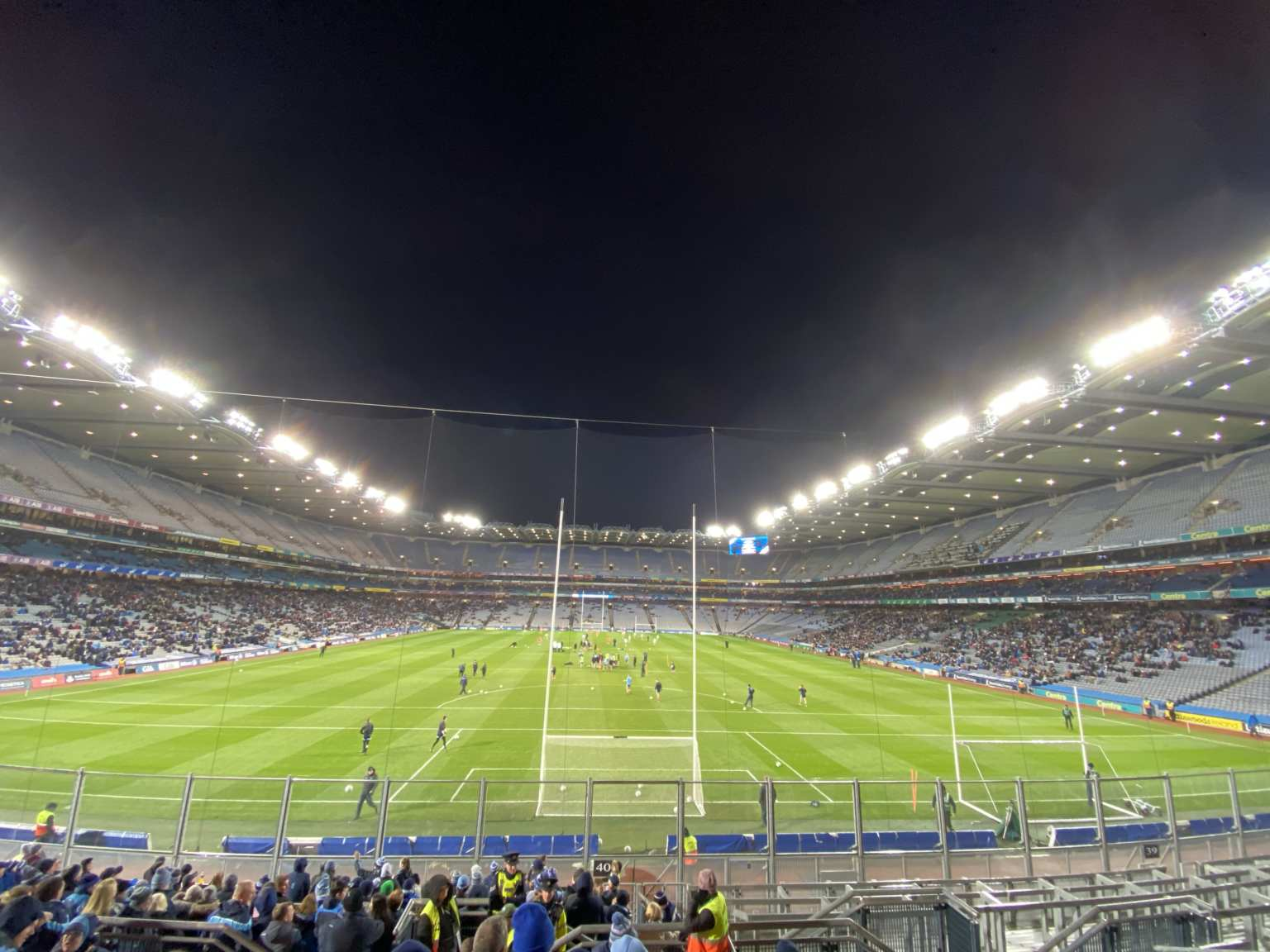 Croke Park under floodlights were Dublin maintained their unbeaten league run with a one point win over Donegal