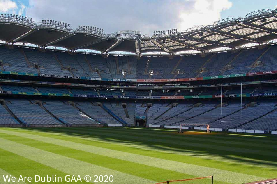 An empty Croke Park stadium signifying the current suspension of the 2020 GAA season due to the Coronavirus