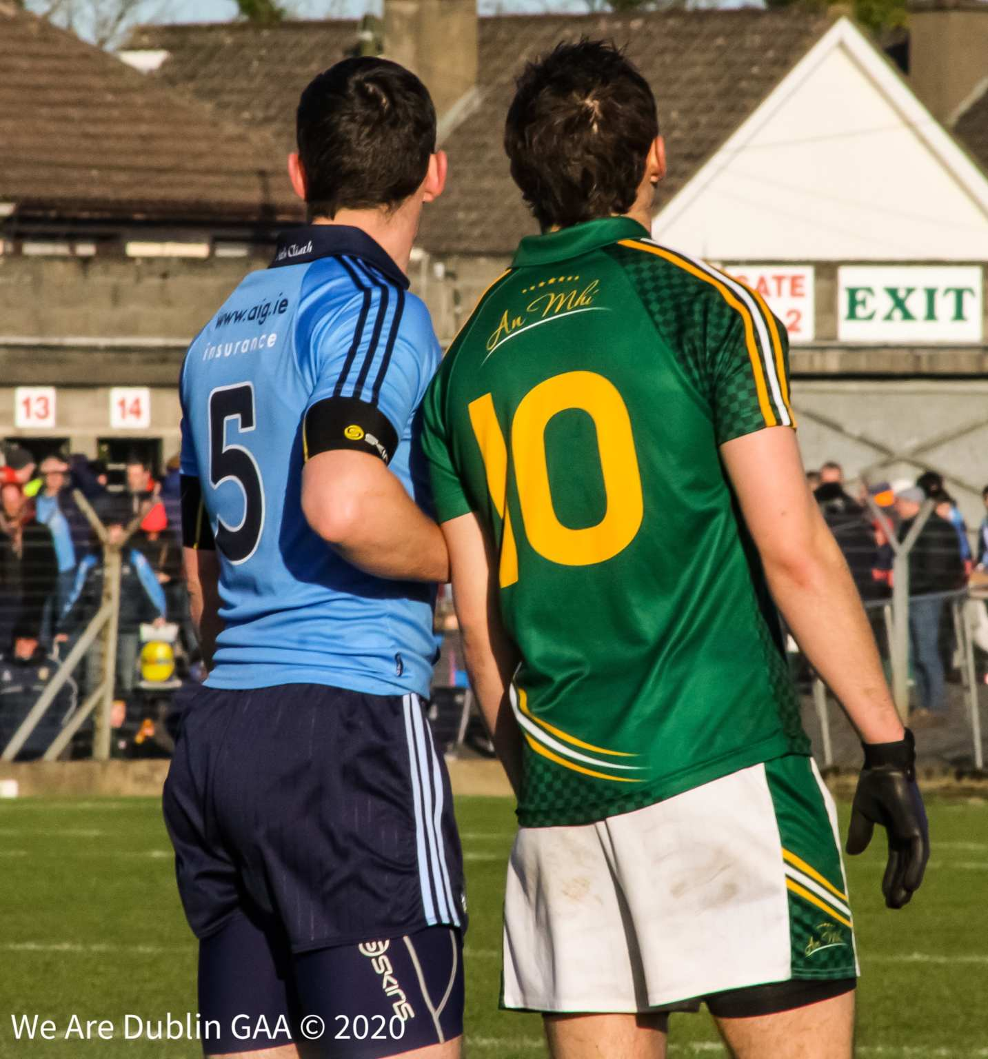 A Dublin and Meath player stand side by side during a game, the Dublin-Meath rivalry though has all but extinguished since the naughties.