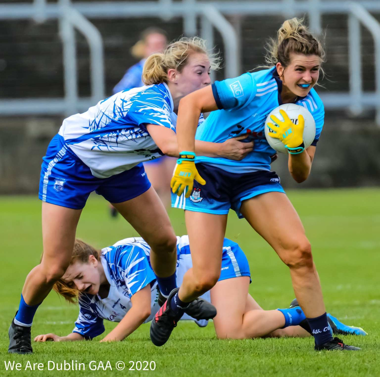 A Dublin player tries to break away from the tackle of a Waterford player, the two teams meet again in the Lidl Ladies NFL Round 5