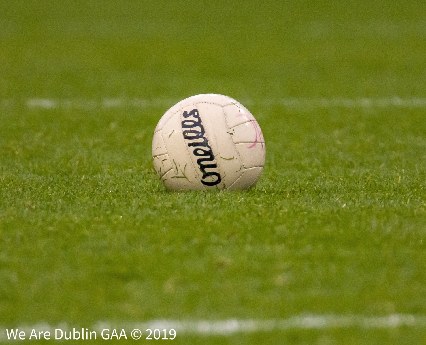 A single Gaelic football idle on a pitch to signify the Ladies Gaelic football Association's decision to cancel a number of LGFA competitions due to Covid-19