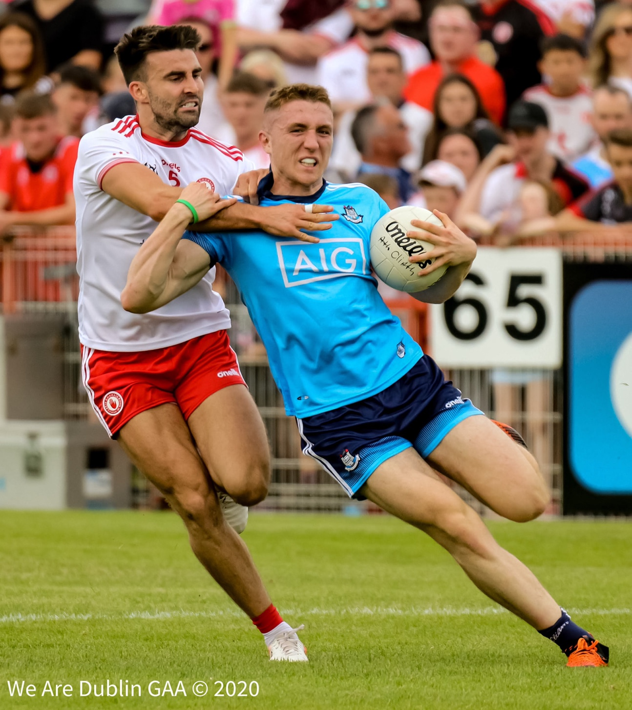 A Dublin player is tackled by a Tyrone player during a championship match, the GPA have stated they will not accept any situation on a return to playing games after Covid 19 restrictions are lifted where players or their families are put at undue health risk