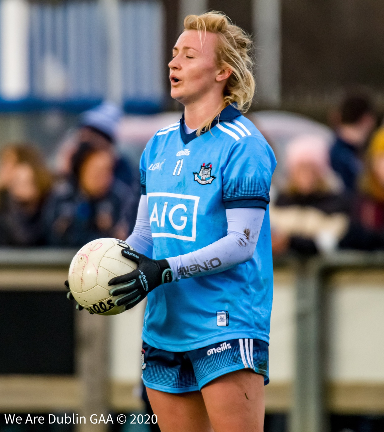 Dublin's Carla Rowe takes a deep breath before taking a free against Tipperary in the opening game of the 2020 Lidl NFL.