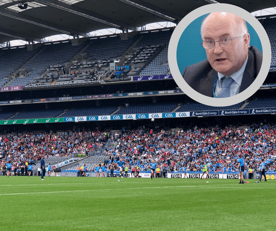 The Hogan Stand in Croke Park with the image of the GAA President John Horan in the top right corner, Horan has stated that the GAA are open to carrying the 2020 championship into next year if it can't be completed by December