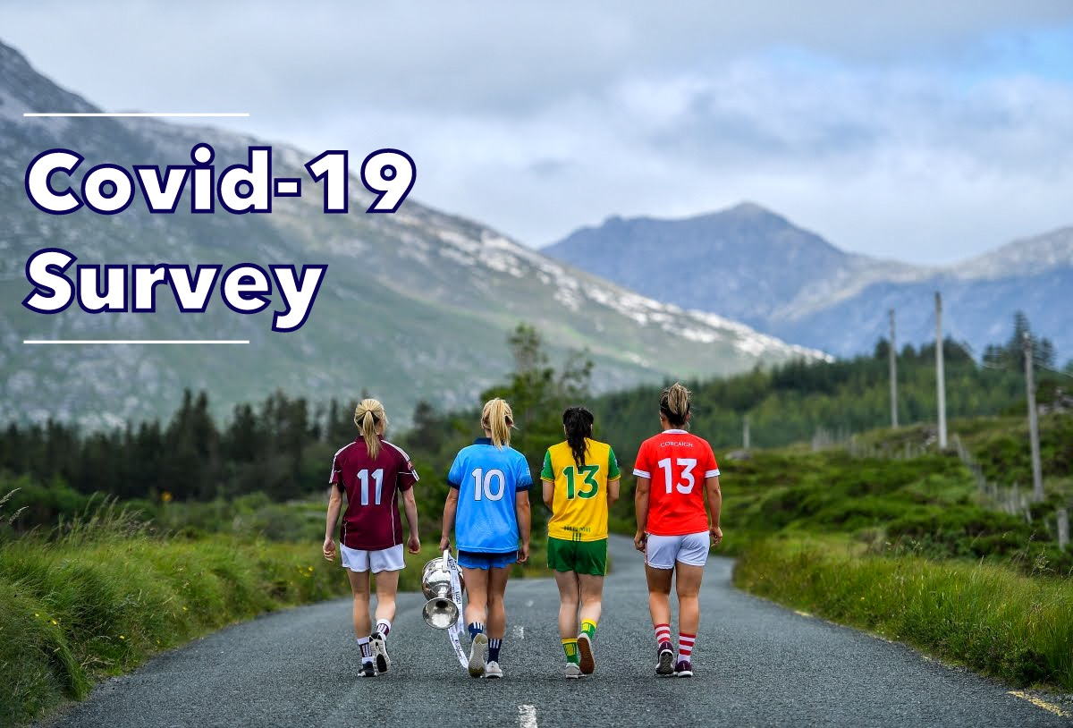 Four ladies footballers walk down a country road with mountains in the foreground and the words Covid-19 Survey which was part of an extensive consultation process with key stakeholders