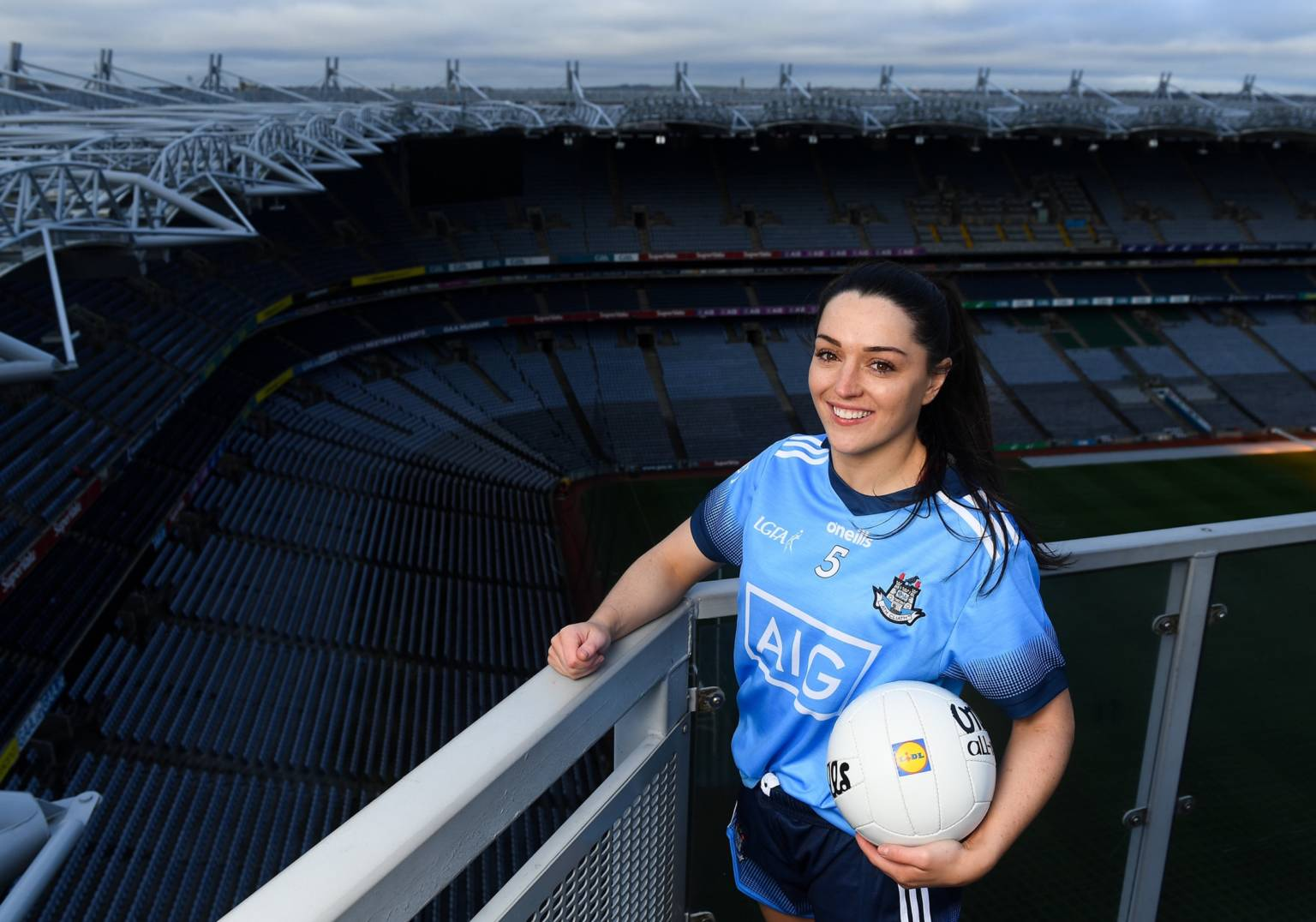 Dublin ladies footballers Sinead Goldrick pictured holding a ball on the Croke Park Sky walk, Goldrick is looking forward to getting back out on a pitch when lockdown restrictions are lifted.