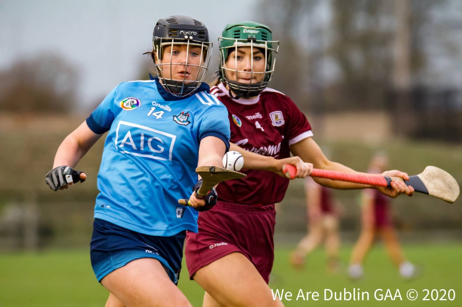 A Dublin Camogie Player breaks away from a Galway player during a league game, the Camogie Association has announced its revised National Camogie Fixtures schedule for the rest of 2020