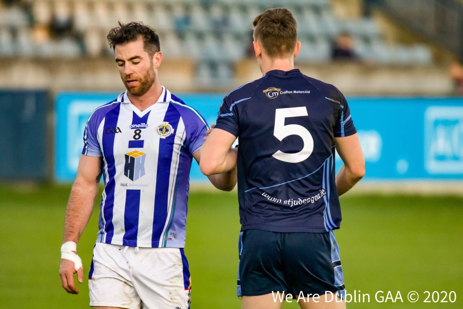 A Ballyboden St Endas player and St Judes player during a club championship game, the Dublin GAA county board have unveiled their revised games programme for the 2020 Dublin club championships