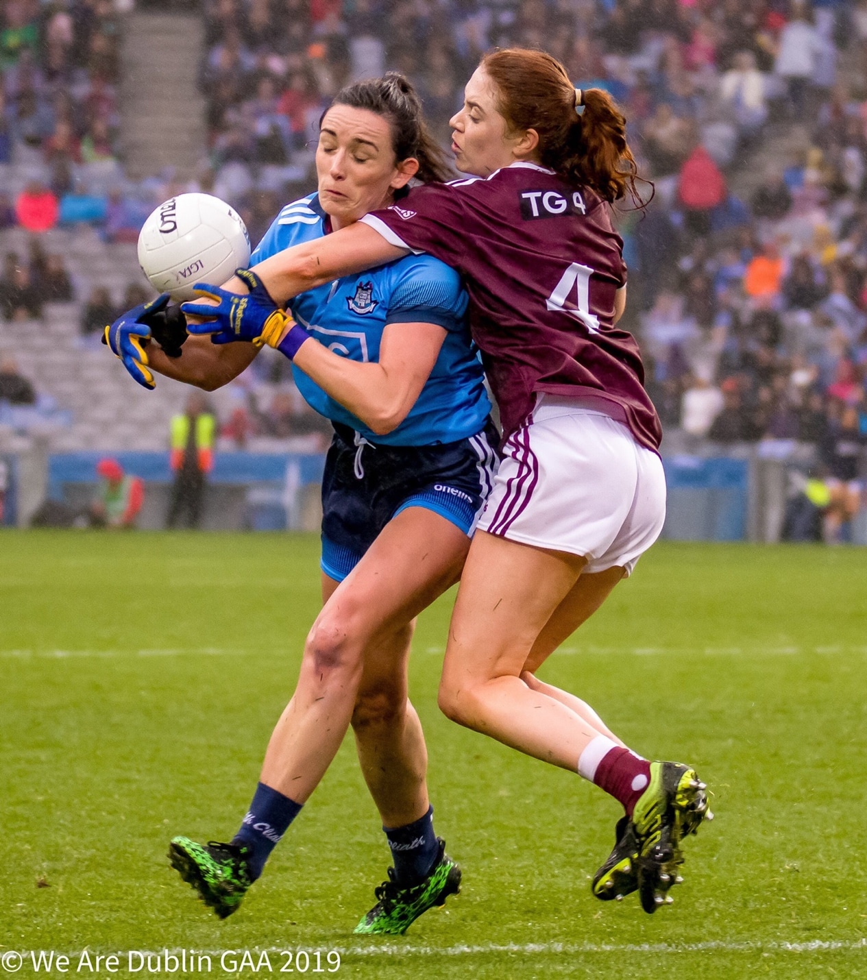 Dublin's Niamh McEvoy is tackled by a Galway defender during the 2019 All Ireland final, the format for the 2020 TG4 All Ireland championships have been ratified.