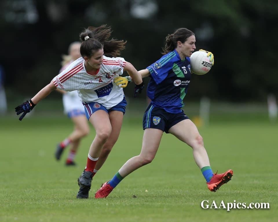 Two ladies footballers in action in the club championship, the Dublin LGFA Club Championship Round 1 results were a number of high scoring wins.