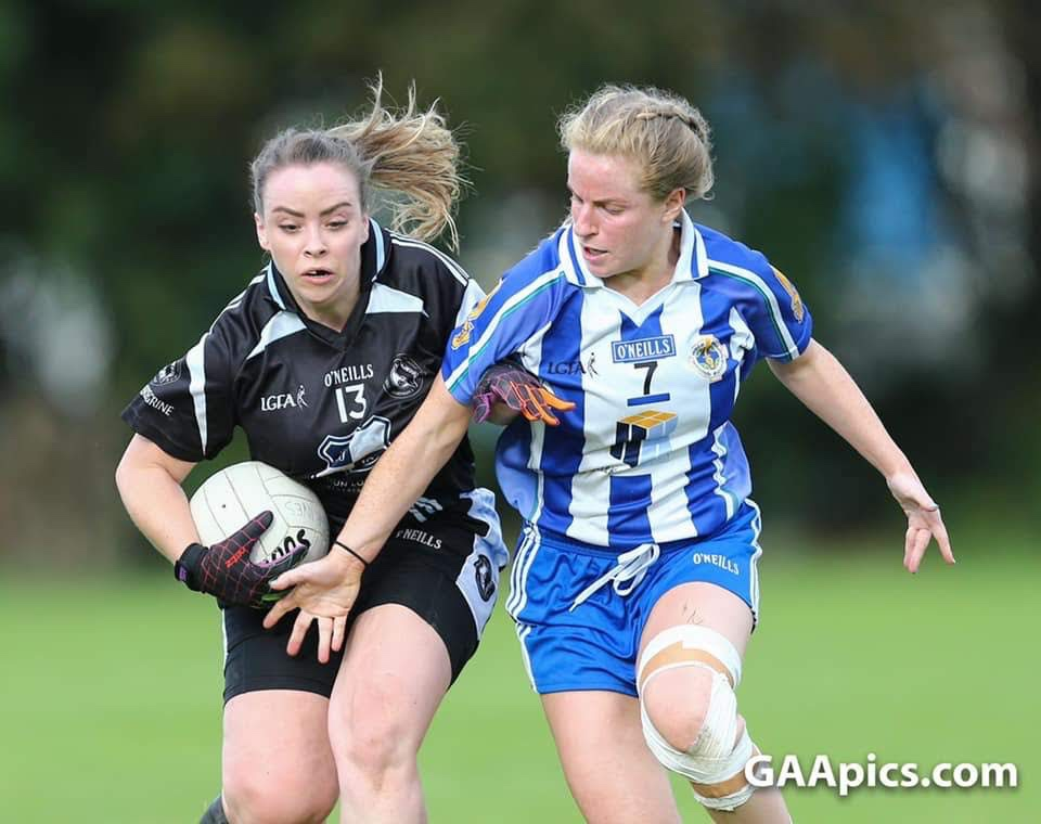 Two players battle for the ball during a Dublin Ladies club football game, the opening fixtures of the Adult Club league for 2020 have been released.