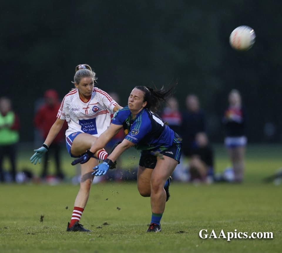 Two ladies club footballers in action in round 1 of the championship, the round 2 fixtures take place this evening.