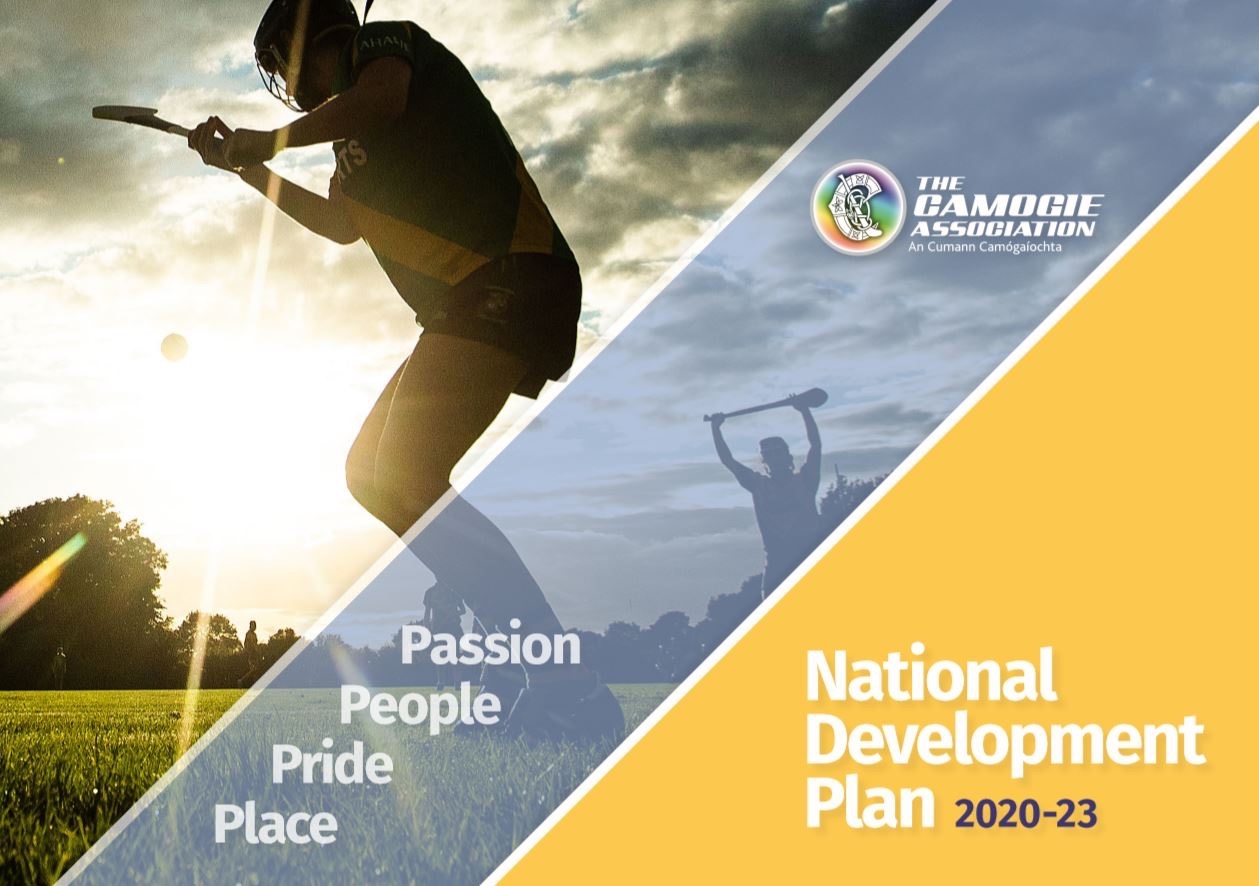 Promotional poster for the Camogie Associations new National Development Plan 2020-23