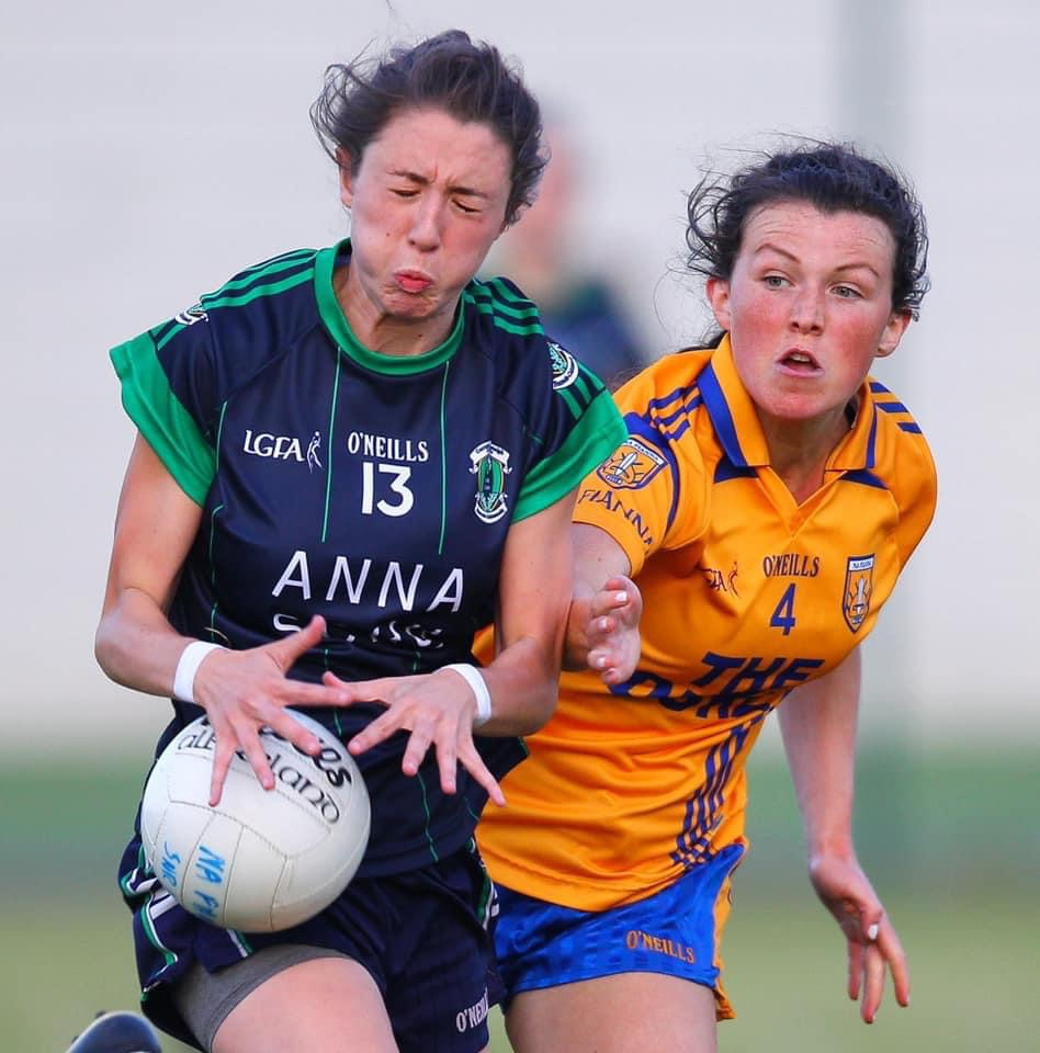 A Na Fianna Ladies footballer tackles a player from Foxrock Cabinteely during a game, both sides meet tonight in one of many Dublin LGFA adult club round 3 fixtures.