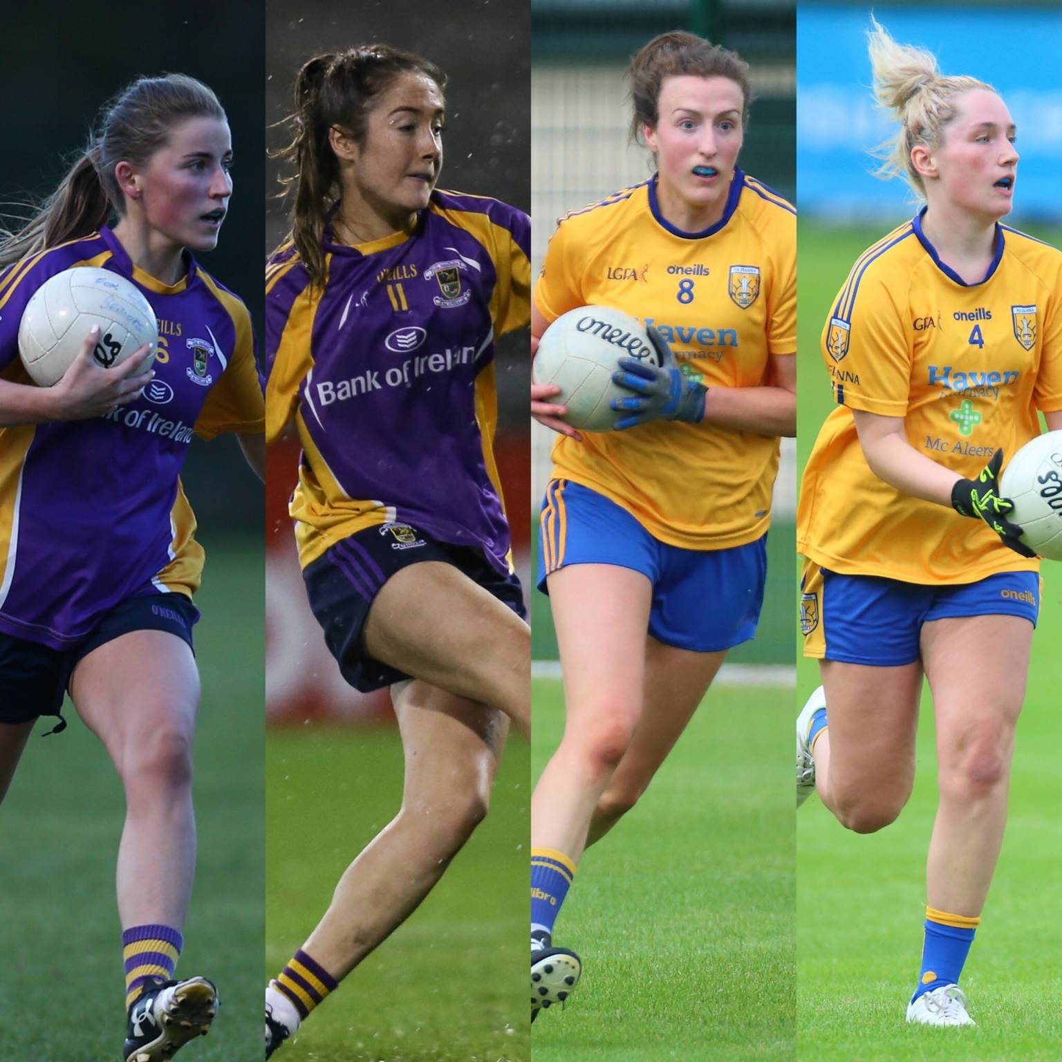 Four ladies footballers who will be involved in tonight's Dublin LGFA semi final fixtures.