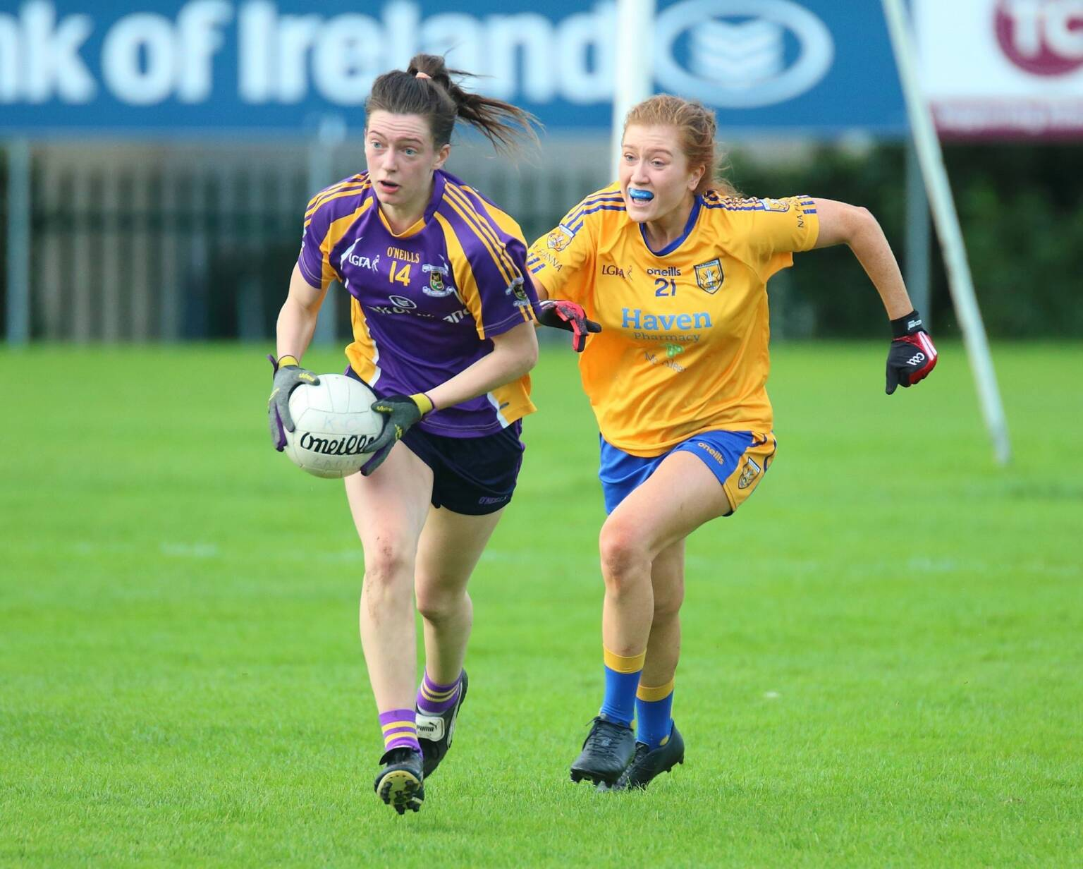 A Kilmacud Crokes ladies footballer races clear from a Na Fianna player during the semi final clash, the final pairings at senior and junior level are now known after last nights semi final results