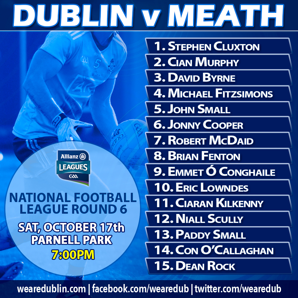 Dublin Starting 15 v Meath