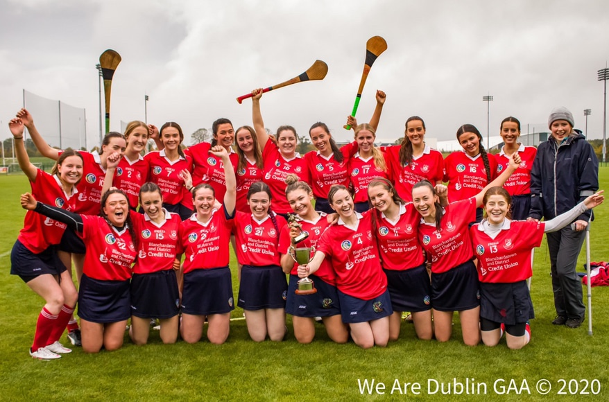 St Brigids celebrate are winning the We Are Dublin GAA/Dublin Camogie Junior 3 title