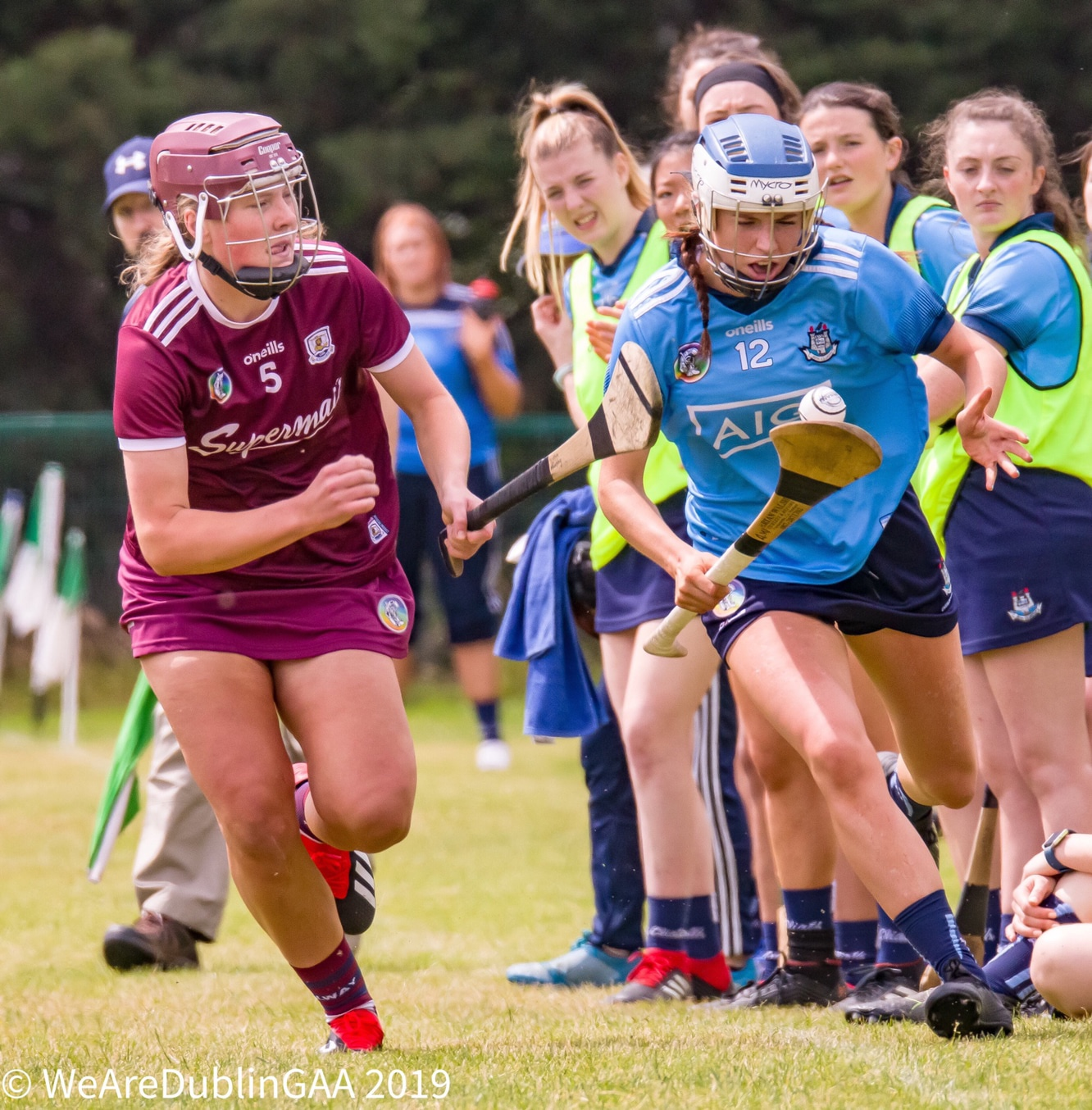 A Dublin and Galway Camogie player in action during last year's intermediate championship, both sides meet this weekend with the game being live-streamed
