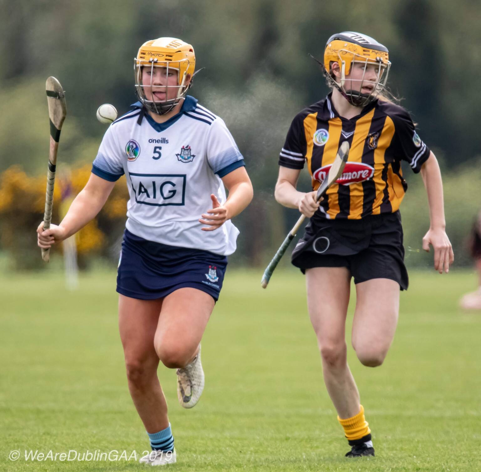 A Dublin player breaks free from a Kilkenny player, both the Dublin Camogie Minor and U16 squads take on Kilkenny today in championship action.