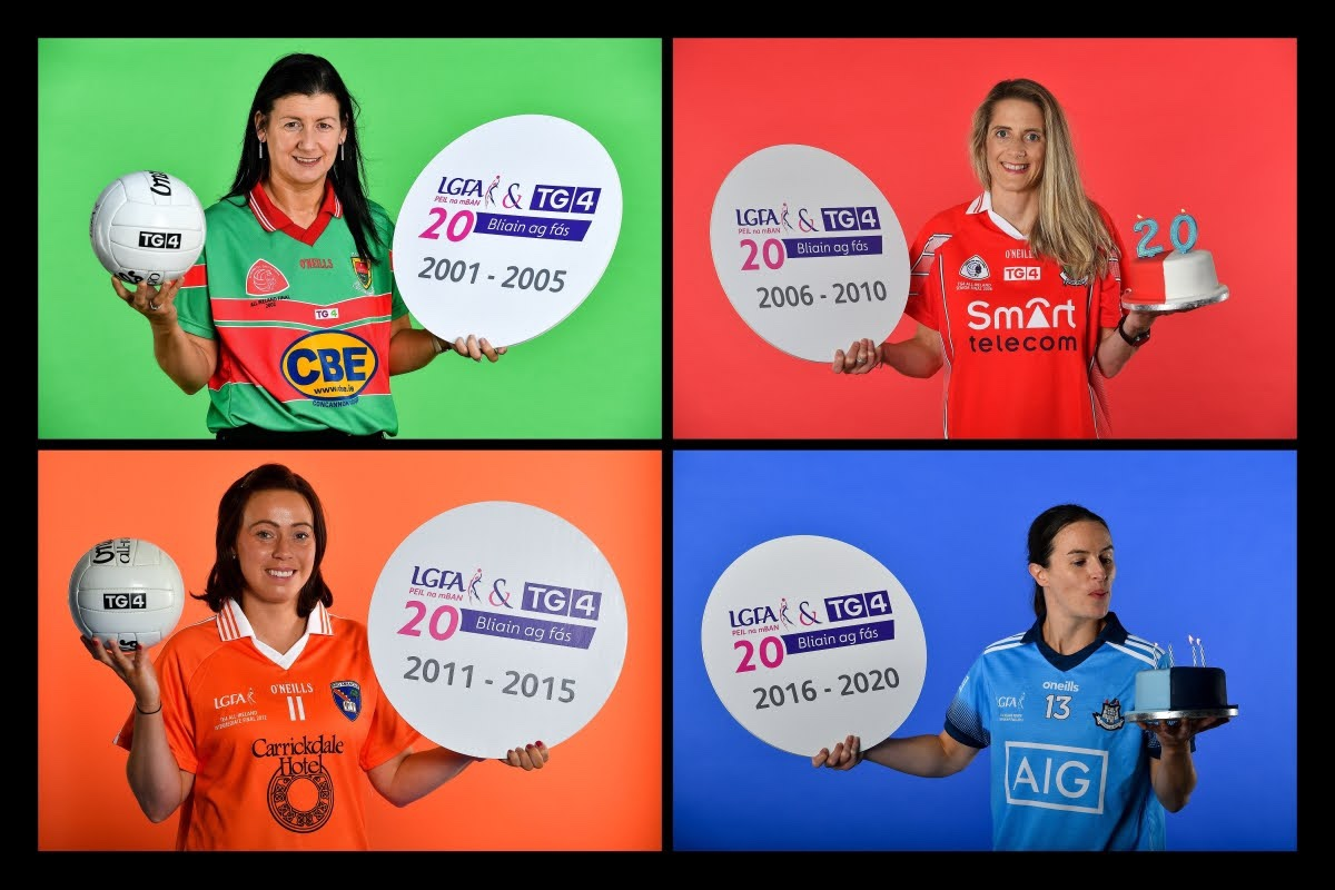 Four players who will be taking part in the TG4 All Ireland Ladies Football Championship holding footballs and cakes at a recent photo shoot.