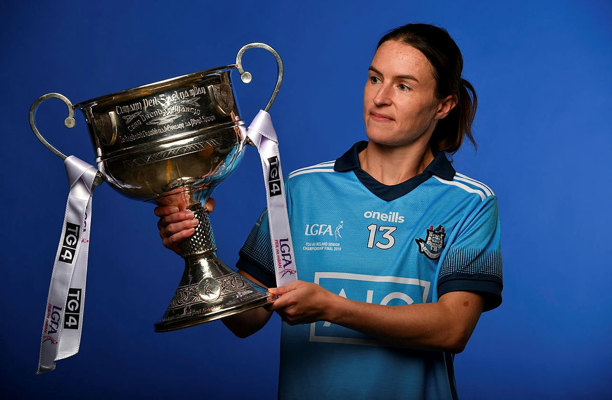 Dublin ladies football captain Sinead Aherne hold the Brendan Martin Cup at a photo shoot for the launch of the 2020 TG4/LGFA All Ireland Championships